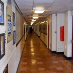 Main corridor with school hall to right and gym on the left